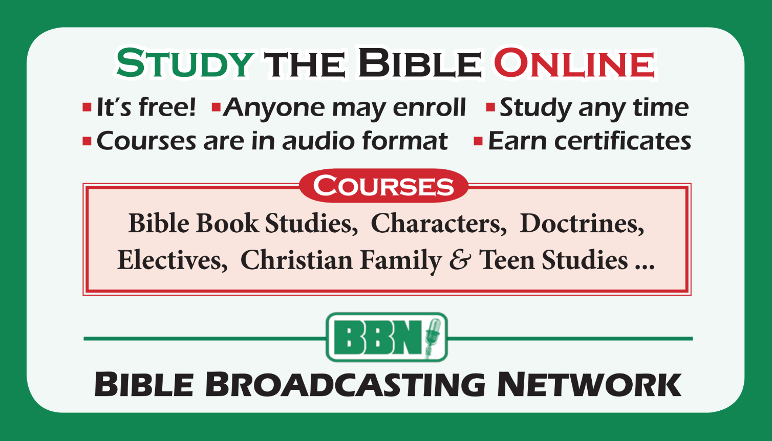 Request BBN Bible Institute Invitation To Learn (ITL) Cards!